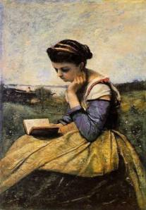 "Jean-Baptiste-Camille-Corot ""Woman Reading"""