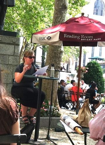 Jenny Davidson speaking at NYC's Bryant Park